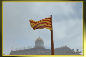 13 Borne bandera catalana