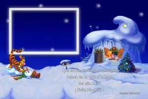 04 Postal Navidad Pooh y amigos con foto
