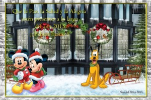07 Postal Navidad Mickey Minnie Pluto con marco