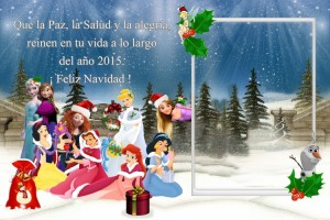 18 Postal Navidad Princesas varias con marco