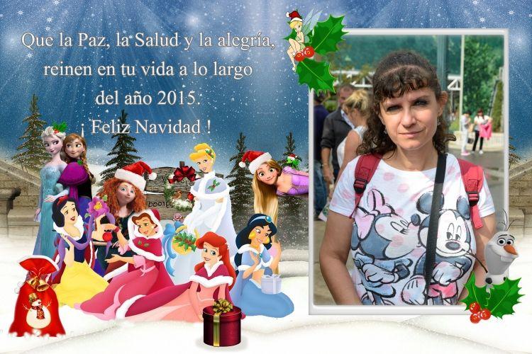 postal navidad princesas varias con marco ejemplo