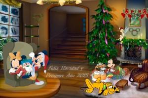 21 Postal Navidad Mickey y familia con foto
