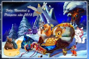24 Postal Navidad Animalitos Disney con marco