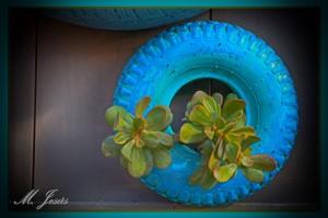 34 Mercantic - flores en neumático